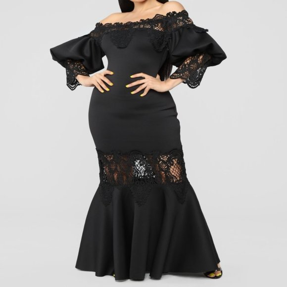 Black Long Dress with Embroidery Detail